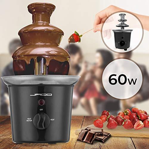 Schokoladenbrunnen 60W - 3 Etagen, 400 gr Kapazität, Edelstahl, Spülmaschinenfest, Rot oder Schwarz...