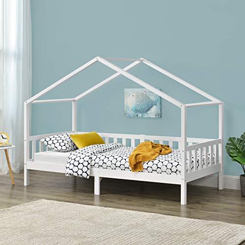 Kinderbett 90x200 cm Rausfallschutz und Stauraum Bettenhaus Kiefernholz Weiß