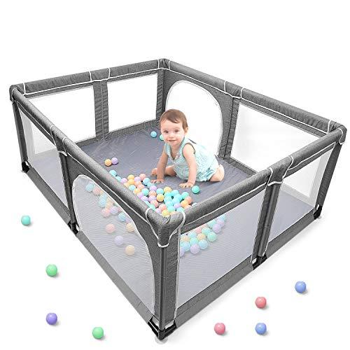 Baby Laufstall, XL Laufgitter, Aktivitätszentrum für Kinder im Innen- und Außenbereich mit Rutschfester...