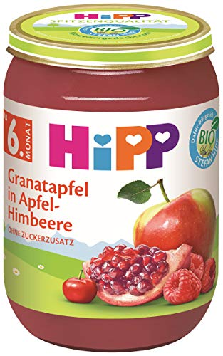 Hipp Bio Früchte Granatapfel in Apfel-Himbeere, 6er Pack (6 x 190 g)