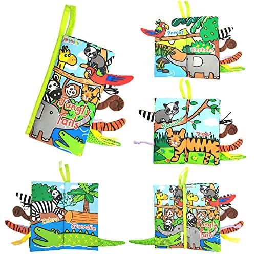 GoHist Stoffbuch für Babys, Dschungel Tierschwanz Bilderbuch Stoff Babyspielzeug Soft Bilderbücher...