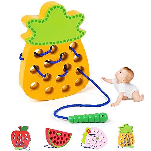 O-Kinee Montessori Spielzeug, Holz Ananas Lernspielzeug Fädelspielzeug, früh Lernen Feinmotorik...