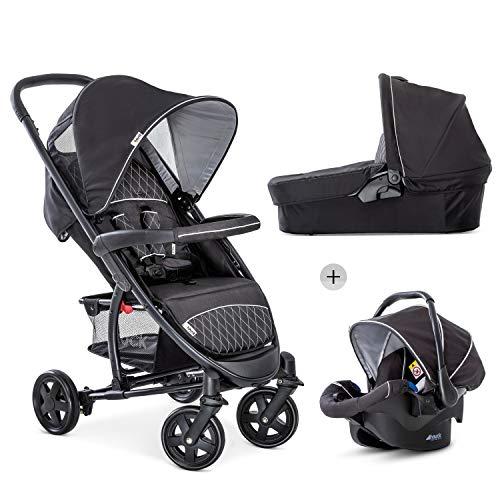 Hauck Malibu 4 Trio Set 3in1 Kombi Kinderwagen bis 18 kg + Babyliegeschale Gruppe 0 + Babywanne mit Matratze,...