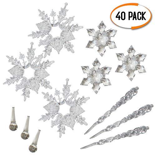 40 Weihnachtsbaum Weihnachts-Eiszapfen Saisonale Dekorationen - Beinhaltet Schneeflocken - Eiszapfen -...