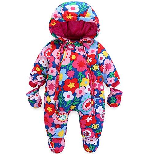 JiAmy Baby Winter Overall Mit Kapuze Mädchen Schneeanzüge mit Handschuhen und Füßlinge Warm Kleidungsset...