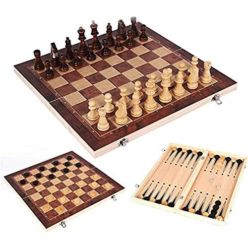 Queta 3 in 1 Schachspiel International Schach Faltbare Schachbrett mit Schachfiguren Klappbar Chess Board Set...