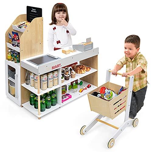 GOPLUS Kaufladen mit Einkaufswagen, Supermarkt aus Holz, Kaufmannsladen mit Tafel & Registrierkasse, inkl....
