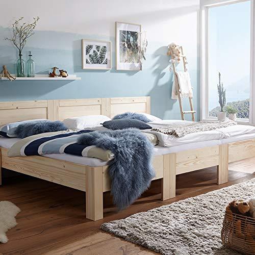 Original-RIMA-Familienbett | Modell RÜGEN | Fichte massiv | gewachst mit Bienenwachs | 270x200cm