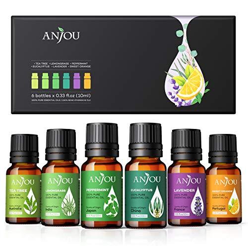 Anjou Ätherische Öle Set [2020 Neueste] Aromatherapie Duftöl Öl 6x 10ml für Aroma diffuser 100% Pur...