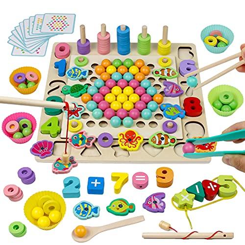 Akokie Holz Montessori Spielzeug 4 In 1 Perlen Spiel Angelspiel Besaitungsspiele Mathe-Lernspiele Interaktives...