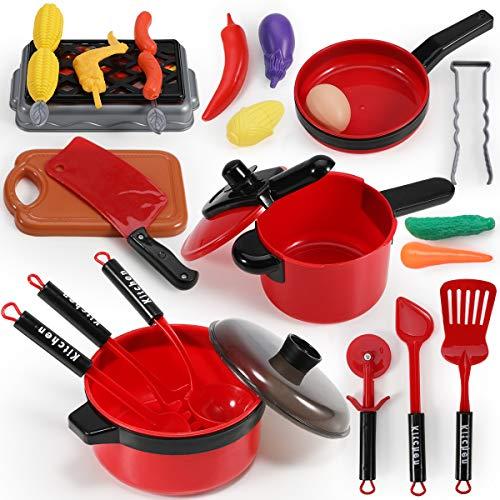 GeyiieTOYS Kinderküche Zubehör Topfset Kochtopf Kochgeschirr Set Spielküche aus Pfanne und Lebensmittel...