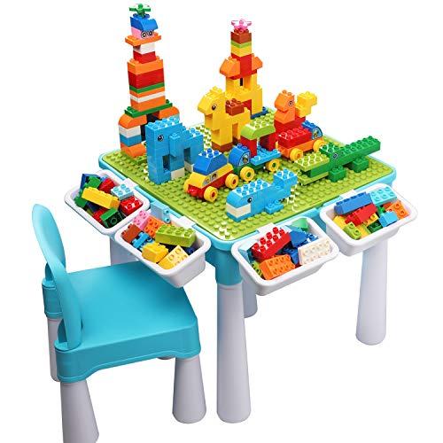 burgkidz 5-in-1-Kinder-Aktivitäts-Tischset - 128 Teile Kompatibel mit Bausteinen Spielzeug, Spieltisch...