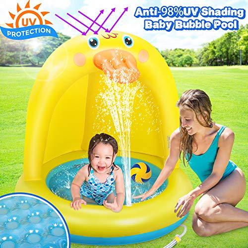 Dookey Aufblasbares Planschbecken, Baby Pool Mit Sonnenschutz, Splash Kinderzelt Schwimmbecken, Sommer...