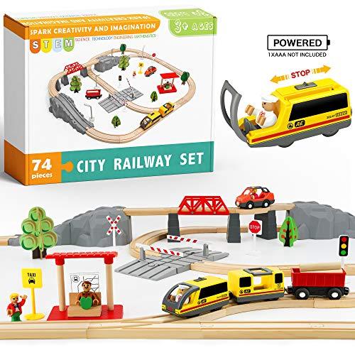 Holzeisenbahn und Eisenbahn Set - Elektrische Eisenbahn für Kinder , Elektrisch Spielzeug Zug, Passend für...