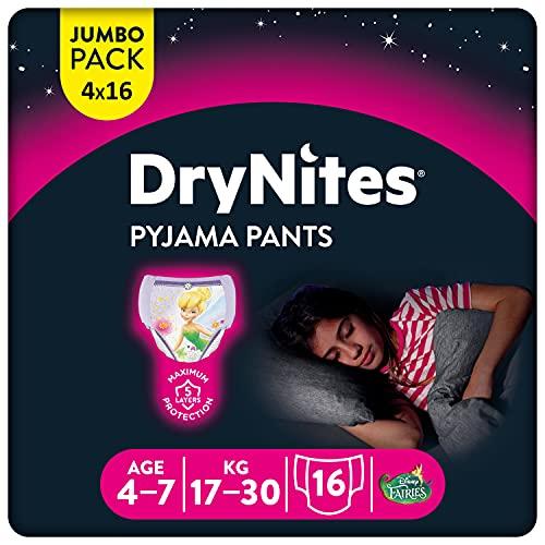 Huggies DryNites hochabsorbierende Nachtwindeln bei Bettnässen, für Mädchen 4-7 Jahre, 4 x 16 Windel-Pants...