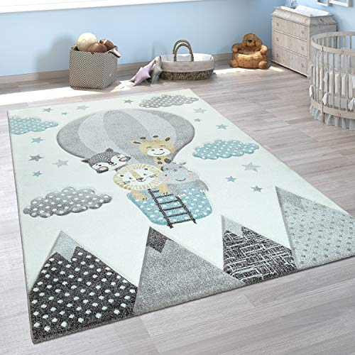Kinderzimmer Teppich Blau Grau Heißluftballon Wolken Tiere 3-D Design Pastell, Grösse:140x200 cm