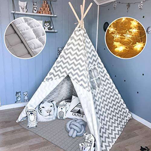 Tiny Land Tipi Spielzelt für Kinder Kinderzimmer mit Gepolsterter Decke & Lichterkette- Drinnen Baumwolle...