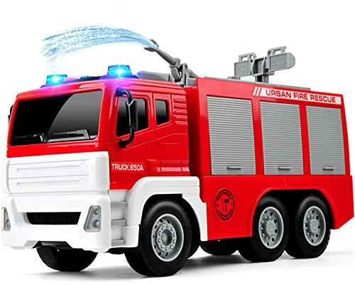 GizmoVine Feuerwehrauto mit Wasserspritze ,1:12 Groß Feuerwehr Spielzeugautos Reibung Angetrieben...
