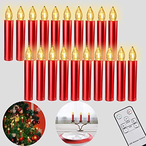 Freepower 20er LED Weihnachtskerzen mit Fernbedienung Timer Dimmbar, Christbaumkerzen Kabellose...