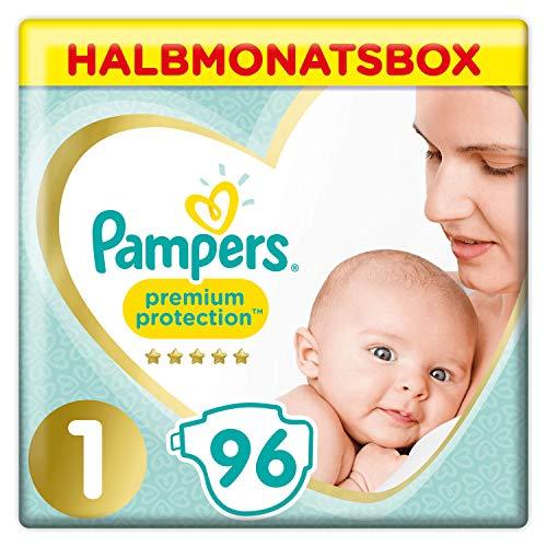 Pampers Premium Protection Windeln, Gr. 1, 2-5kg, Halbmonatsbox (1 x 96 Windeln), Pampers Weichster Komfort...