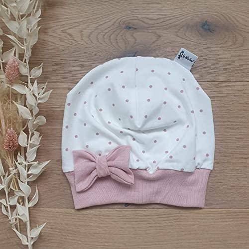 Mütze Cremeweiss Rose Punkte (Rose) Schleife Baby Mädchen
