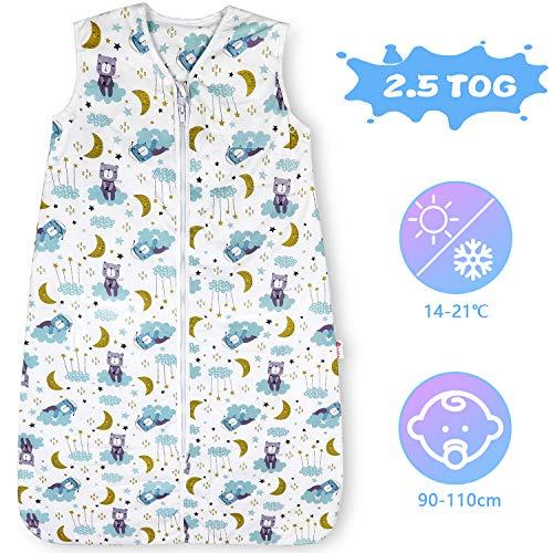 Lictin Schlafsack Baby Winterschlafsack 2.5 Tog Babyschlafsack Einstellbar 90-110cm für Neugeborene 18-36...
