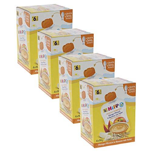 HiPP Quetschbeutel für Babys, Frucht-Porridge, Mango-Pfirsich in Banane mit Hafer, 100% Bio-Früchte ohne...