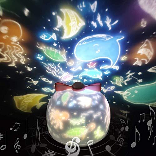 Sternenhimmel Projektor Lampe SYOSIN Kinder LED Musik Nachtlicht Baby Sterne Lampe mit 6 Projektionsfilmen 360...