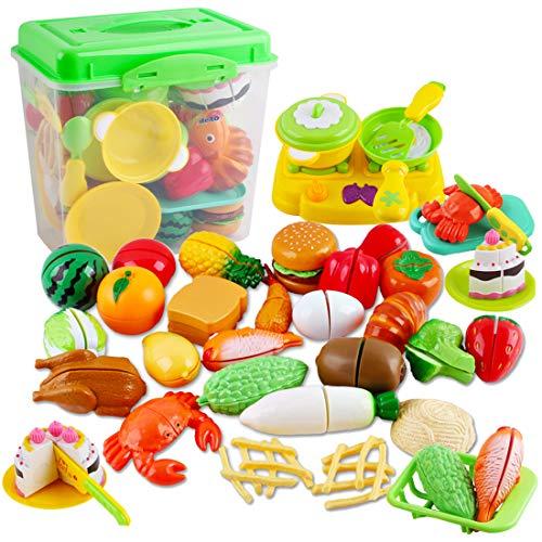 deAO Pretend 42-teiliges Küchen-Set zum Schneiden von Lebensmitteln - Lernspielzeug für Kinder mit...