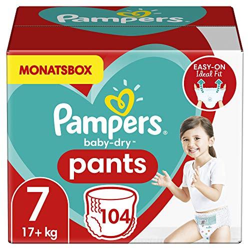 Pampers Windeln Pants Größe 7 (17+kg) Baby Dry, 104 Höschenwindeln, MONATSBOX, Einfaches An- und Ausziehen,...