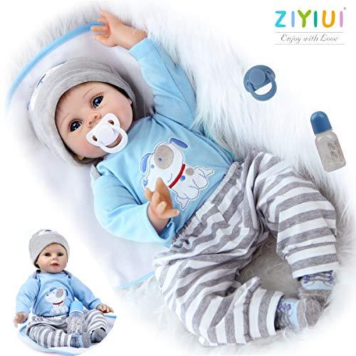 ZIYIUI Reborn Baby-Puppe Weiches Vinylsilikon Realistisch Baby Puppe lebensecht Reborn Baby Junge Mädchen...