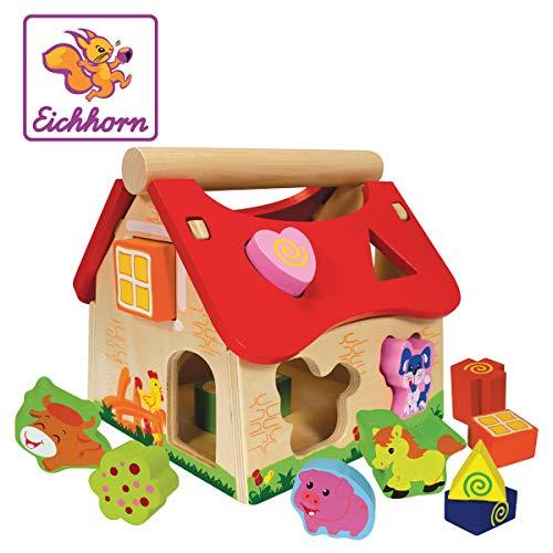 Eichhorn Holz Steckhaus, 15-teiliges Haus aus Kiefernholz, mit 12 Steck-Bausteinen, Motorikspielzeug für...