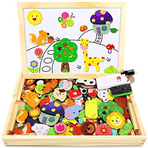 Jojoin Magnetisches Holzpuzzle mit Doppelseitiger Tafel, Holzspielzeug Puzzles Kinder, 110 Stück Tiermuster...