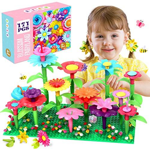 ATCRINICT Blumengarten Spielzeug für 3-6 Jährige Mädchen DIY Bouquet Sets für Kinder Blume Bausteine,...