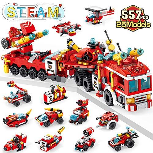 LUKAT Feuerwehrauto Bausteine Spielzeug ab 6 7 8 9 10+ Jahre Jungen, 557 PCS Konstruktionsspielzeug 25-in-1...