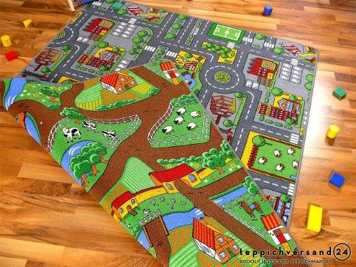 Lernen und Spielen Straßenteppich Beidseitig mit Zwei Straßenlandschaften in 4 Größen ab EUR 39,90,...
