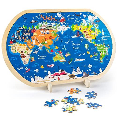 VATOS 44-teilige Holzpuzzles für Kinder, Weltkarte Puzzle für Kinder Pädagogisches Montessori Holzspielzeug...