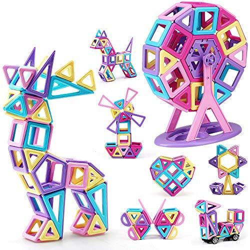 nicknack Magnetische Bausteine, Über 132 Stück Konstruktion Bauen Blöcke Set für Kinder ab 3 4 5 6 Alter...