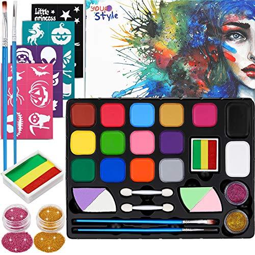 Dookey Kinderschminke Set, 15 Professionelle Schminkfarben Face, Wasserlösliche Paint, Split Cake und 24...
