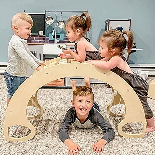 Indoor Klettergerüste für Kinder, Kletterbogen, Bunte Kinder-Bogenwippe aus Holz, Bogenleiter Rutsche aus...