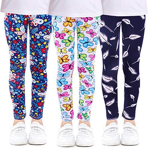 KEREDA Mädchen Leggings Hosen Kinder Stretch Leggings Blumenmuster 3er-Pack Alter 4-13 Jahre