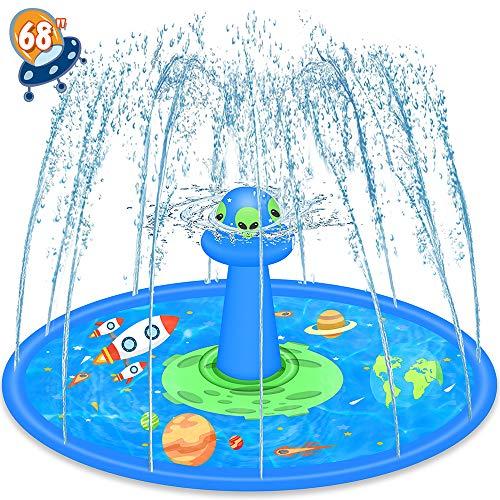LUKAT Sprinkler Play Matte, 170cm UFO Splash Pad Wasser-Spielmatte Sommer Garten Wasserspielzeug Baby Pool Pad...
