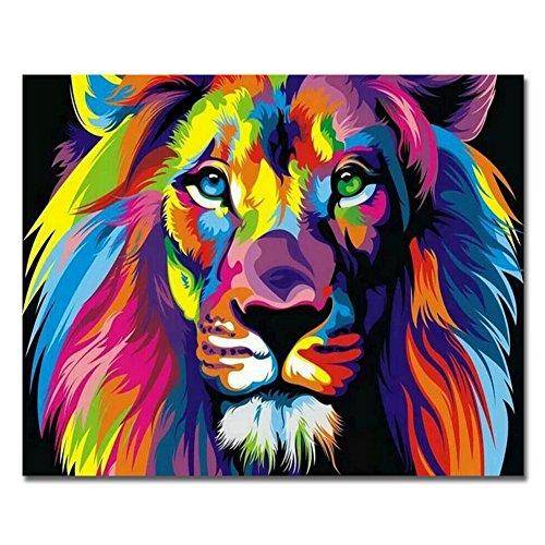 RIHE Rahmenlos, Malen nach Zahlen DIY Ölgemälde Bunte Lion Leinwand Druck Wand Kunst Home Dekoration