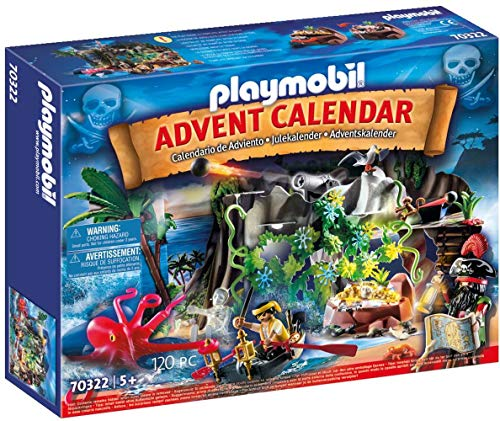 PLAYMOBIL Adventskalender 70322 Schatzsuche in der Piratenbucht mit zahlreichen Figuren, Tieren und...