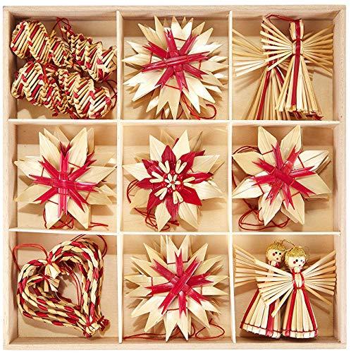 HEITMANN DECO Weihnachtsbaumschmuck Deko aus Stroh - Natur Stroh Baumbehang mit roten Akzenten - 25-teiliges...