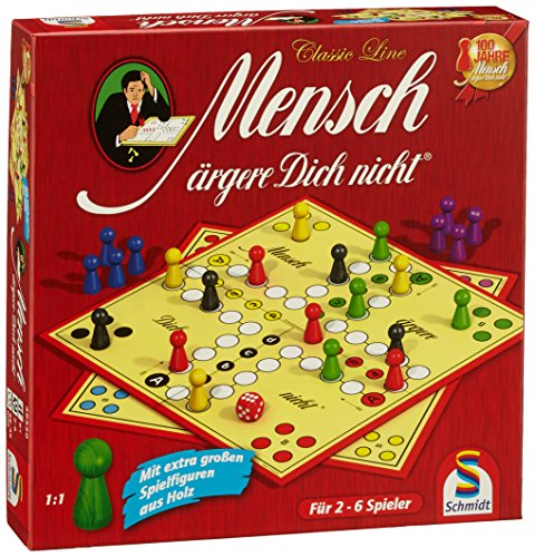 Schmidt Spiele 49330 Classic Line, Mensch ärgere Dich Nicht, mit extra großen Spielfiguren aus Holz, FFP,...