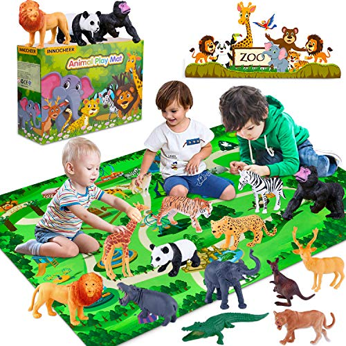 INNOCHEER Safari Tierfiguren Spielzeug Set mit Spielmatten, Realistischte Wildtier Figuren, Großes Dschungel...