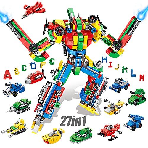 VATOS Bausteine Alphabet Roboter konstruktionsspielzeug für 6 7 8 9 10 Jahre alte Jungen Mädchen - 644 PCS...