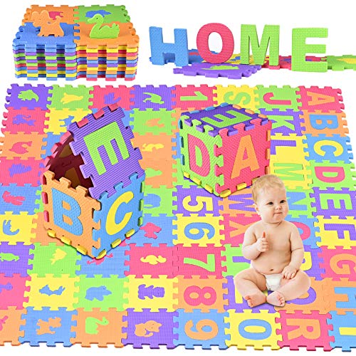 Puzzlematte Baby,GOLDGE 72PCS Puzzlematte Spielmatte Eva Schadstofffrei Wasserdicht Schaumstoffmatte...