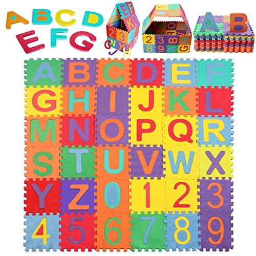 Schutzmatte, StillCool Puzzlematte Kinder Lernteppich mit Buchstaben und Zahlen, Spielmatte rutschfest - 36...